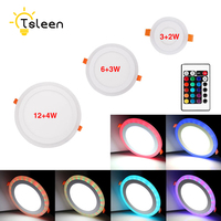 TSLEEN Free Shipping Dimmable RGB 3W 2W 6W 12W 4W Round Led Panel Light Surface Mounted