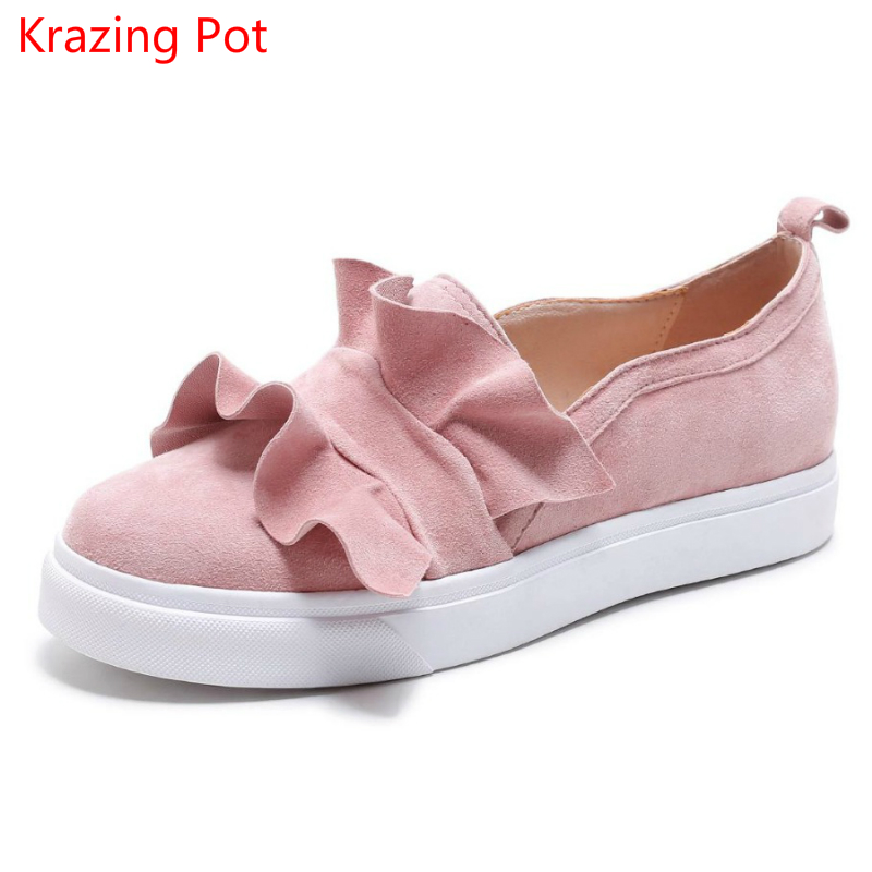 2017 Sheep Suede Med Heel Wedges Slip on Casual Leisure Round Toe Loafers Fashion Sneakers Increased Women Vulcanized Shoes L29