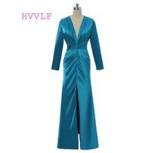 Blue 2018 Formal Celebrity Dresses Sheath Deep V-neck Long Sleeves Taffeta Long Evening Dresses Famous Red Carpet Dresses
