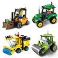 1101-04 City Series Sweeper Road Roller Forklift Truck Tractor Truck City Construction Model Building Block Children Toys