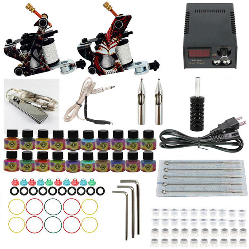 2018 New Complete Tattoo Machine Kit Set Coils Black Pigment Sets Power Tattoo Beginner Grips Kits Permanent Tools HB88 e11011 4 in 1 tattoo perforated piercing kit tools set silver black