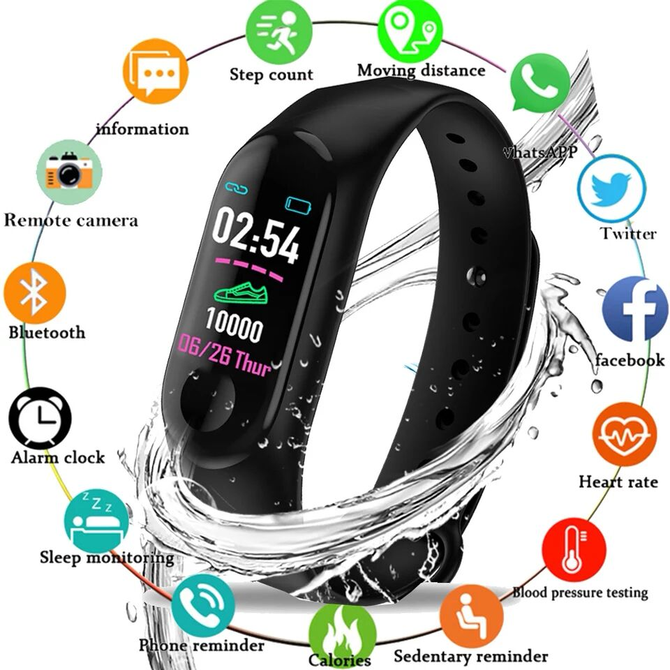 Men Smart Watches Heart Rate Blood Pressure Color Screen Sports Step Bluetooth Bracelet Watch Connect Android IOS