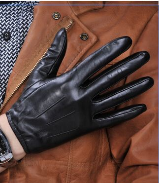 New 100/% Sheep Skin Touch Screen Men Gloves Classic Style Pure Genuine Leather Gloves for Winter Mens Glove Black