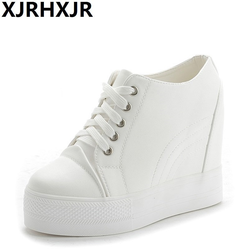 XJRHXJR 2018 Hot Sale New Wedge Shoes Hidden Heels Womens Elevator Casual For Women High Quality 11cm Heels Black White Shoes
