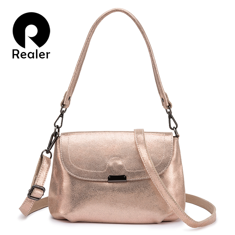 REALER genuine leather shoulder bag women fashion messenger bags ladies crossbody bags high quality purses and