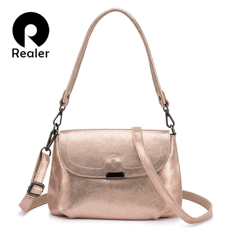 REALER genuine leather shoulder bag women fashion messenger bags ladies crossbody bags high quality purses and handbags design