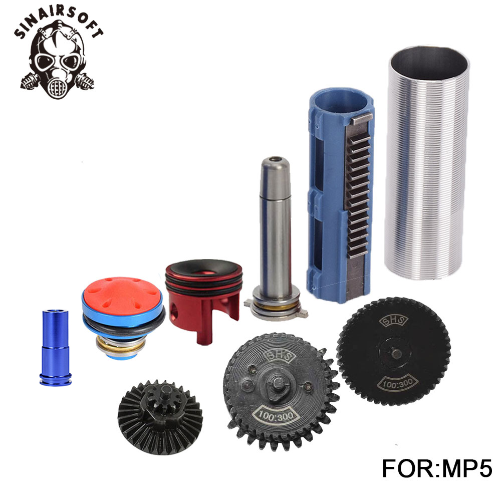 SHS 100 300 Gear Nozzle Cylinder Spring Guide 14 Teeth Piston Kit Fit Airsoft M4 MP5
