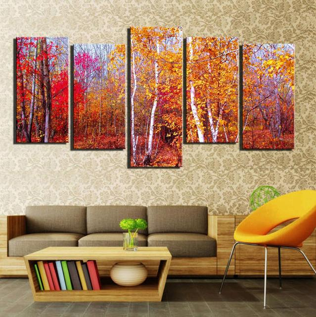 5 Panels HD Printed Red Leaves Forest Tree Autumn Wall Art Painting ...