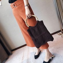 2017 Women Personality Ladies Handbag Handmade Wool Knit Handbag Bamboo Bag National Soft Casual Totes Fashion New