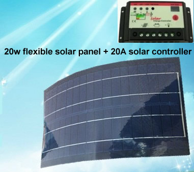 20W/12V black color flexible solar panel + 20A solar controller very slim solar panel for outdoor Diy,Car,Boat,charger
