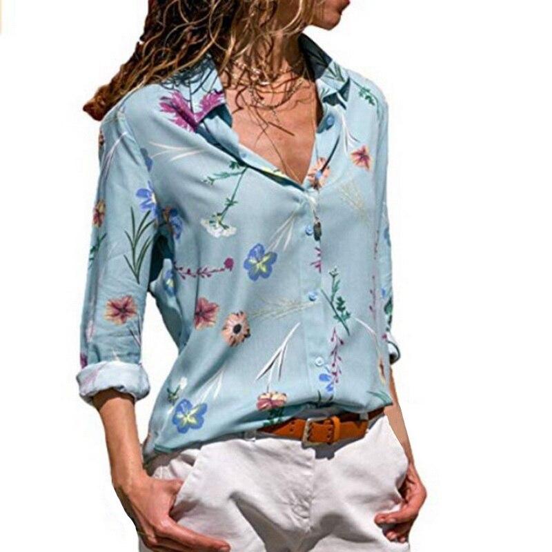 Primavera Las Mujer borgoña Floral Camisas Rayas blanco multiple Cielo Blusa Nuevo amarillo 2019 Manga Laamei Otoño Mujeres La Azul Tops Botón Larga azul Casual rojo Estampado De qt0FxfO