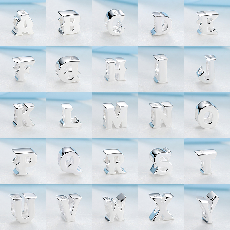 A Z Authentic 100 925 Sterling Silver Alphabet Beads 26 Letters Charm Bead Fit Pandora