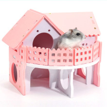 Hamster House Double-Deck Ladder Villa Colorful Bed For Small Animal Rat Mouse Funny Nest Net Ecological