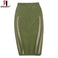 HAGEOFLY HL Army Green Bandage Skirt Knee Length Sexy Mesh Empire Pencil Club Bodycon Slim Skirt XL