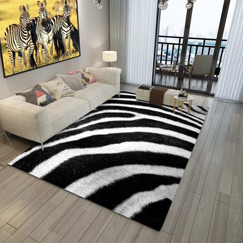Modern Living Room Carpet Zebra/Leopard/Tiger Printed Carpets Bedroom Decoration Floor Rugs Fashion Anti-slip Door Mats