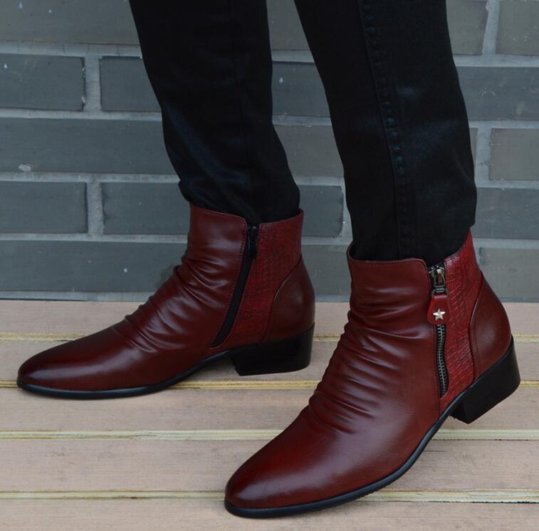 Fashion Luxury Brand Mens Leather Boots Genuine Zipper Black Wine