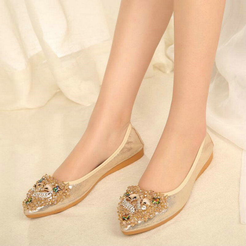 2017 brend new women Summer fashion Egg rolls shoes flats Pointed Toe Crystal Shallow shoes casual Flat heel Mom shoes XA-15 new spring summer women flats brand casual women shoes flat heels pu fashion crystal shoe pointed toe soft soles