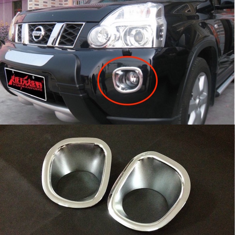 For Nissan X-TRAIL T31 Front Fog Lights Cover Trim Tail Lamp Decoration X TRAIL 2008 to 2011 ABS Chrome Car-styling Accessories