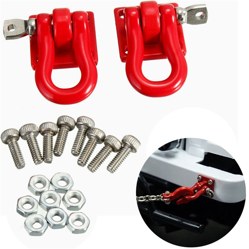 1 Pair 1:10 RC Crawler Accessories Red Trailer Hook Scale Accessory For RC Crawler SCX-10 Truck Climbing Car Truck Trailer Hook fashion $ money clip cash clamp holder portable stainless steel money clip wallet purse pocket metal money holder men gift