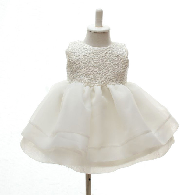 Lace Flower Girls Wedding Dress Baby Christening Cake Dresses for Party Occasion Kids 1-2 Year Baby Girl Birthday Dress Hot Sale