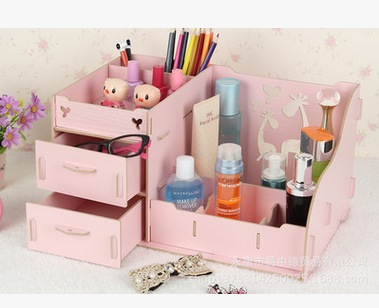 Home Decor Wooden Storage Box Jewelry Container Makeup Organizer Case Handmade Diy Assembly Cosmetic Organizer Wood
