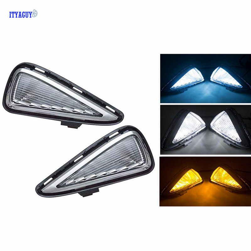 Car Stlying Turn Signal LED DRL Daytime running light For Toyota Camry 2015 Fog Light Decoration Waterproof ABS 12V LED car stlying 12v led daytime running light drl fog lamp decoration for peugeot 508 2012 2013 2014 2015 2016 2pcs