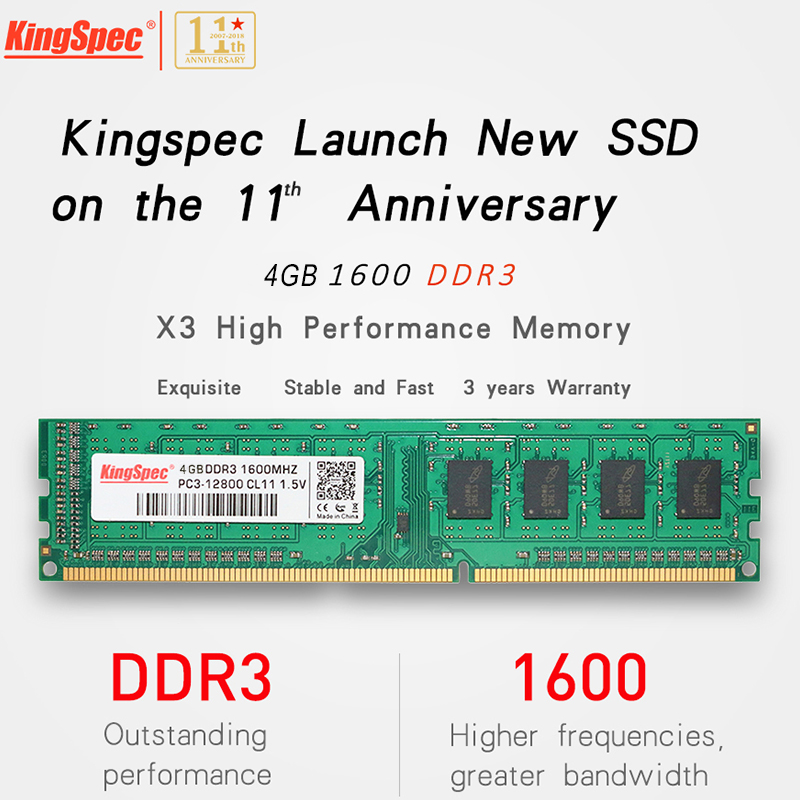 Kingspec Brand New RAM DDR3 4GB 1600MHz PC3-12800 240 pin Memory bar For Desktop PC Individually Packed brand new sealed desktop ddr3 ram1x8gb lo dimm1600mhz pc3 12800 memory high compatible motherboard for pc computer free shipping