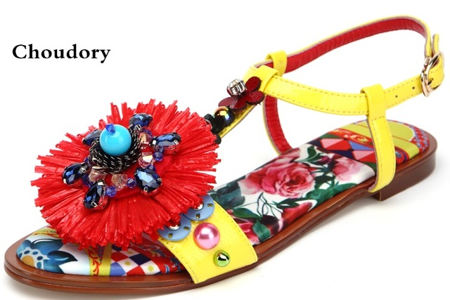 2c095dacf187 New Arrival Leather Flower Slippers Woman Open Toe Rhinestone Diamond  Tassel Floral Thick Bottom Flat Gladiator