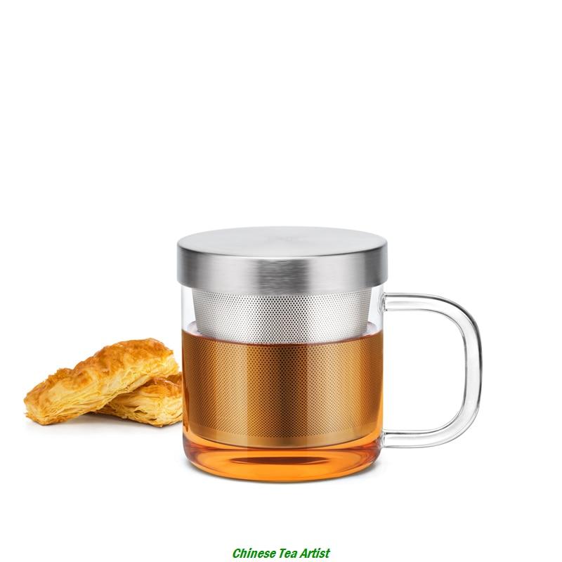 סופר מיני חום עמיד זכוכית כוס קפה עם נירוסטה Infuser ו מכסה 350ml עבור תה או קפה, כלי זכוכית
