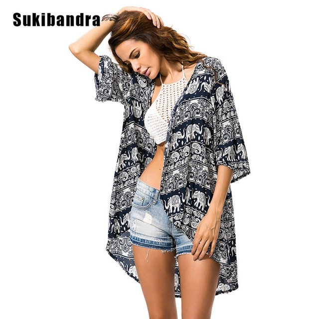eac92ad405f69 Sukibandra 2018 Paisley Elephant Print Woman Long Cardigan Kimono Black Blouses  Summer Beach Cover Up Vintage