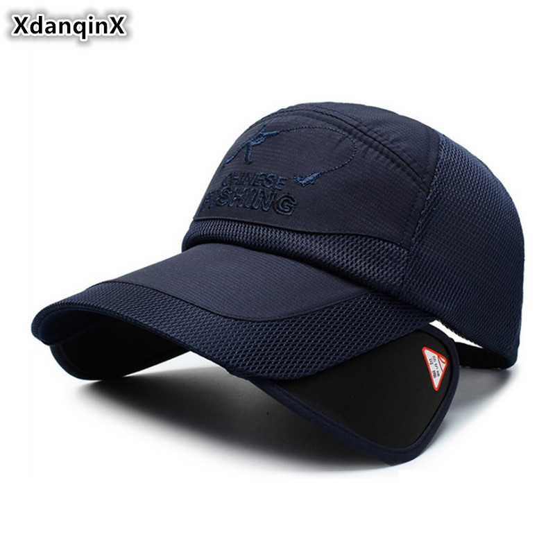 XdanqinX 2019 NEW Women's Ponytail Mesh   Cap   Men's Grid Breathable   Baseball     Caps   Novelty Retractable Large Sun Visor Fishing Hat