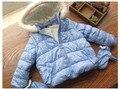 Y 061 Varejo 2016 New Baby Inverno Gir Casaco Azul Dot com capuz Zipper Luva Da Menina Da Criança Casaco de Lã Verme Crianças Outerwear Lolita