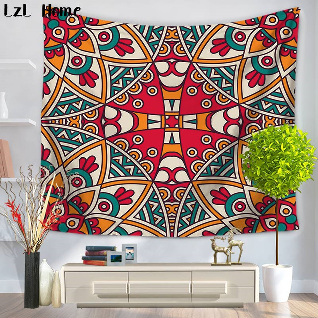 LzL Home Colorful Psychedelic Indian Mandala Tapestry Bohemian Wall Art  Bedspread Yoga Mat Beach Throw Towel