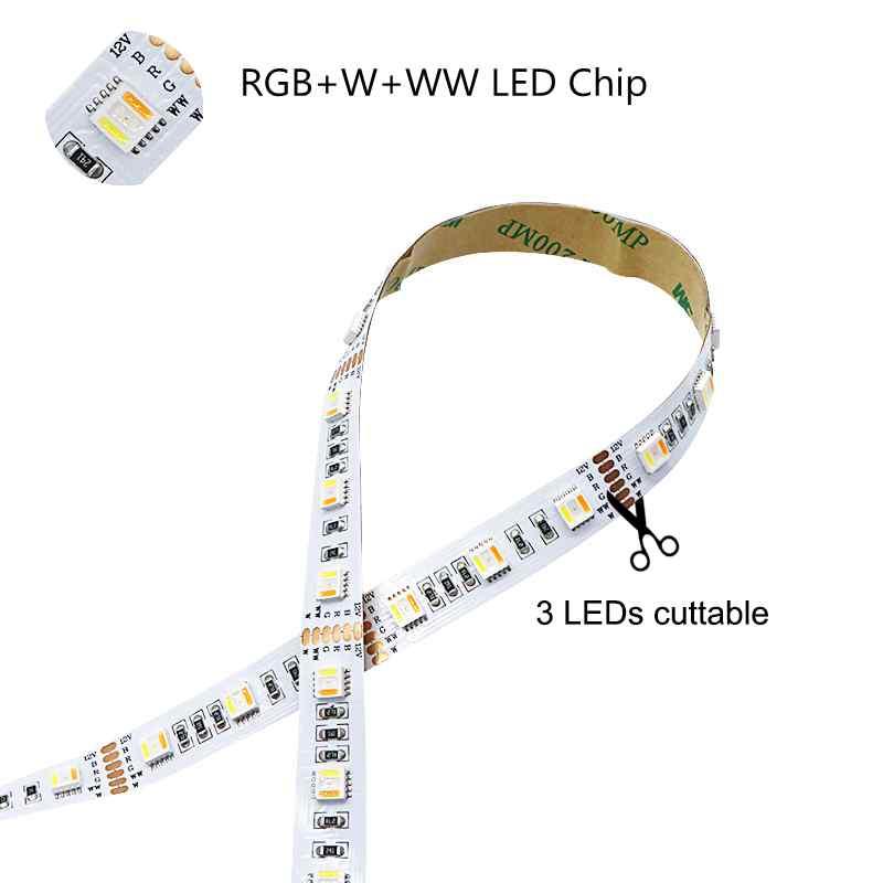 WIFI LED Strip 5M RGB +W +WW DC12V Tape Tira Neon Ribbon Light + wifi controller + 5A power adapter - 2