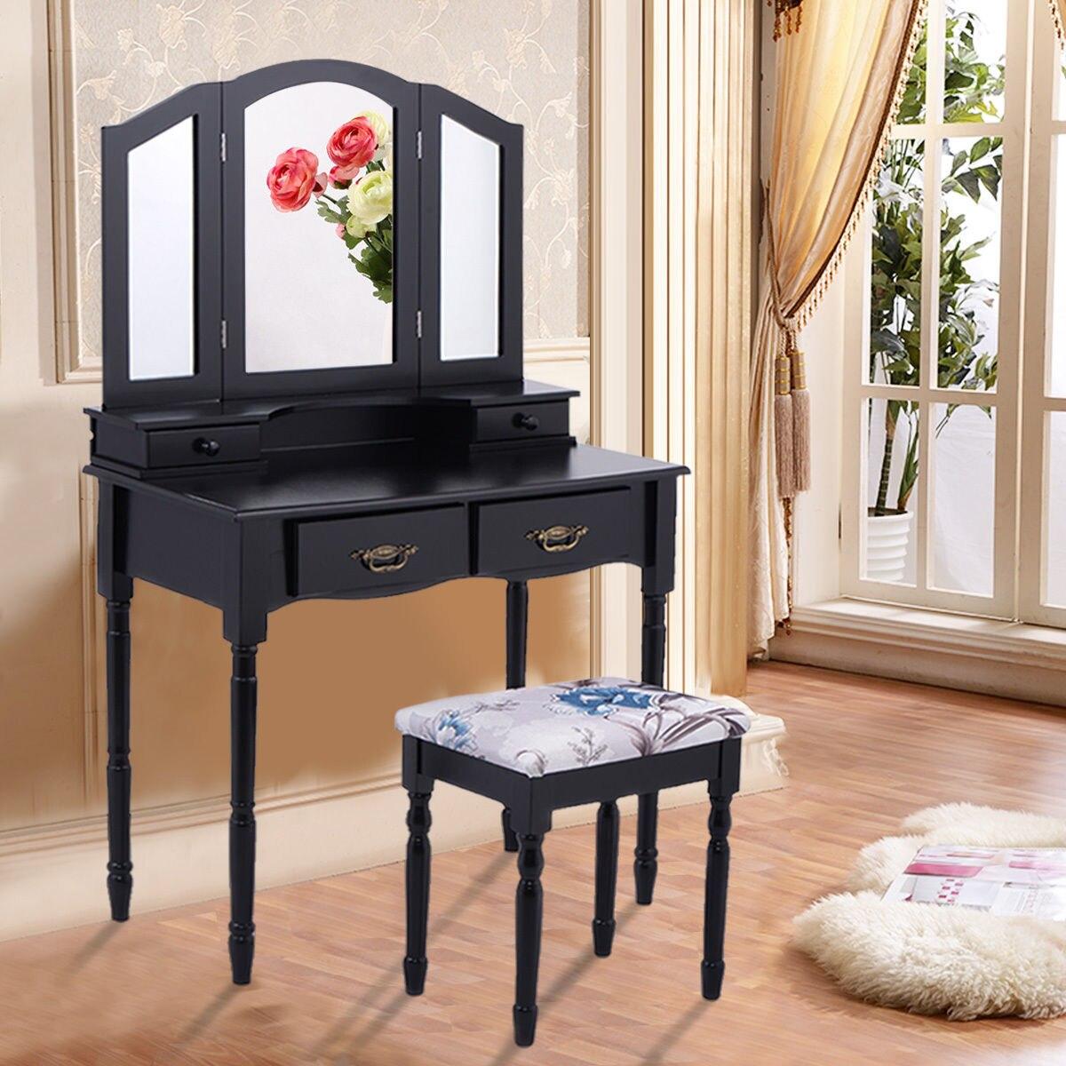 Giantex Black Tri Folding Mirror Vanity Makeup Table Stool