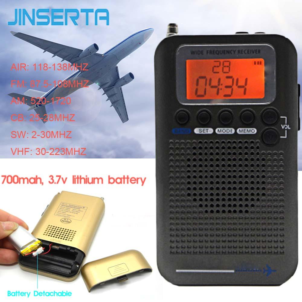 JINSERTA Aeronaves Banda Gravador de Receptor de Rádio VHF Portátil Rádio Banda Completa para o AR/FM/AM/CB/ VHF/SW Radio 2019 Novo