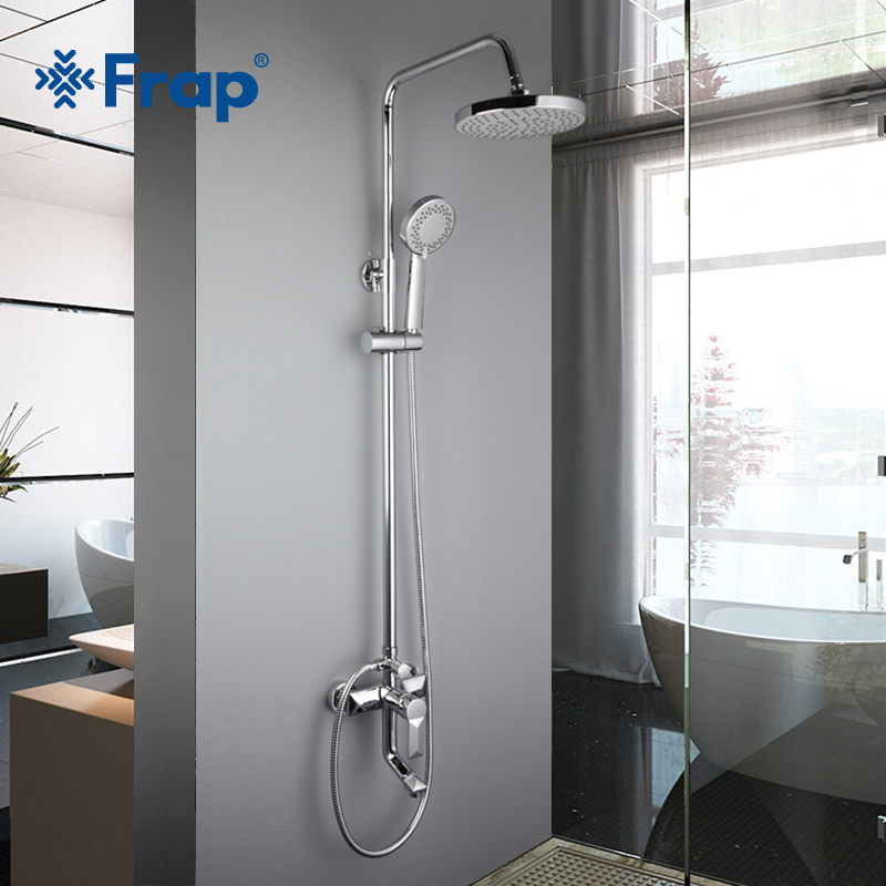 Frap Bathroom Rainfall Shower Faucets Set Brass Single Handle Mixer Tap Chrome Wall Mounted Bath Showers Sets Column Panel F2418