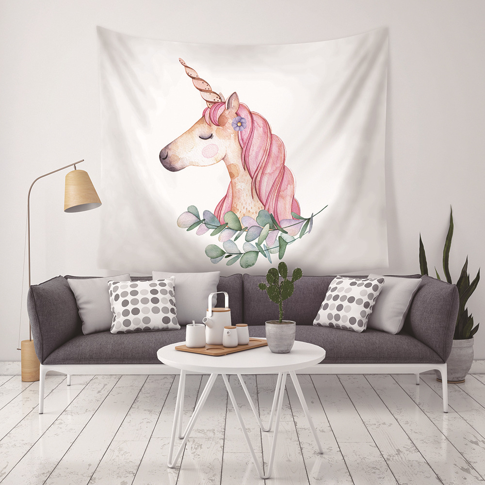cartoon unicorn kids blanket hanging tapestry kawaii tenture mural printed picture wall art decoration carpet image