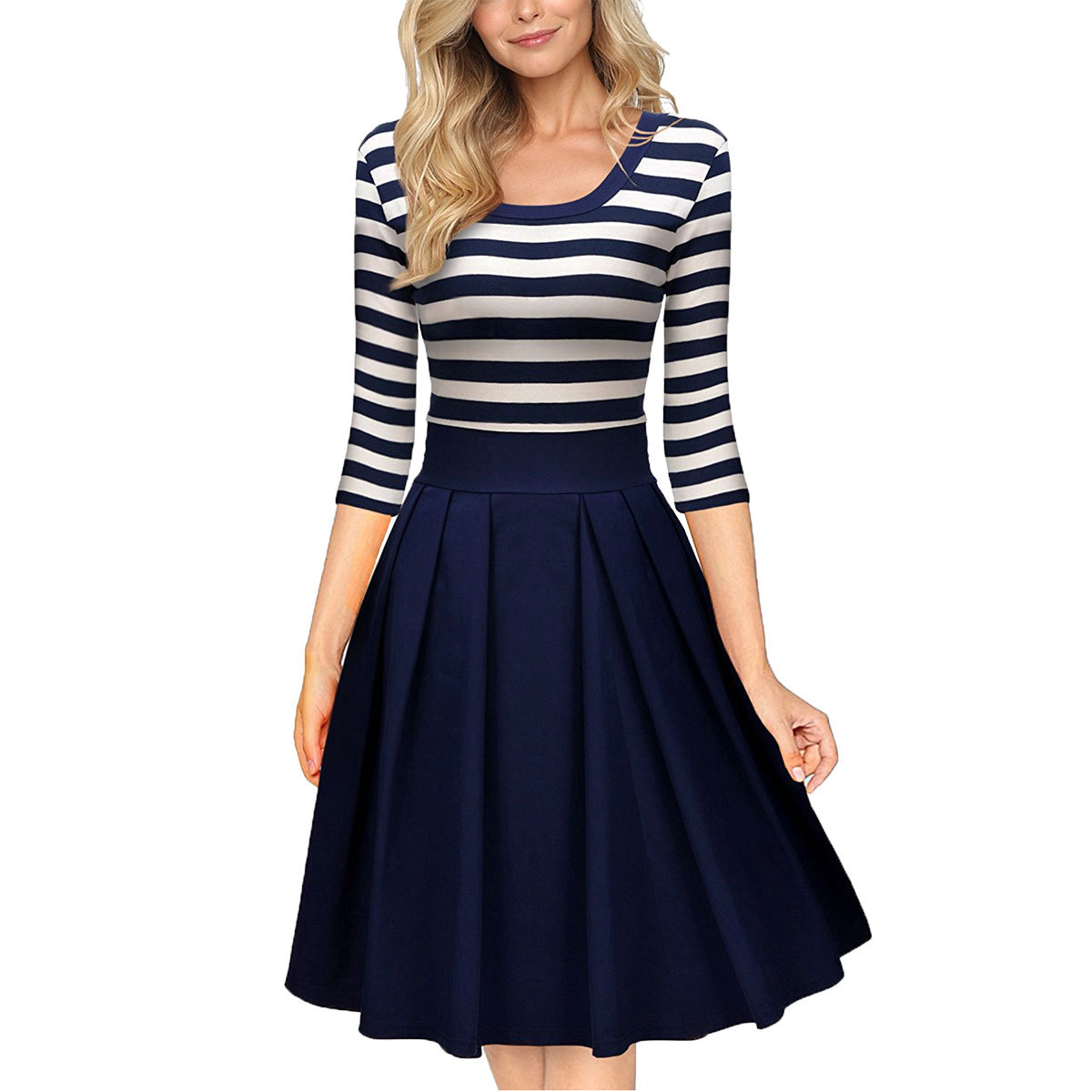 White and Blue Patchwork Color Dress for Women Retro A Line Girl Casual Robe Femme Tunic Three Quarter Sleeve Striped Dressses