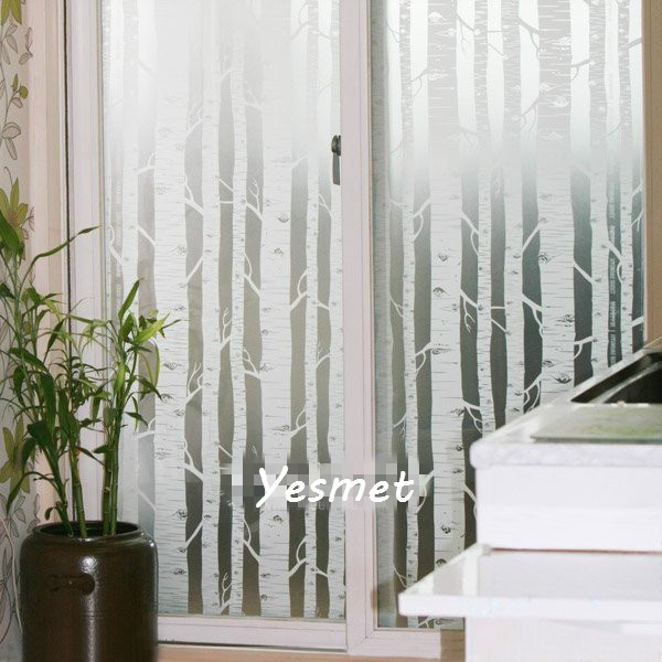 Window Film Glass Stickers Stained Self Adhesive Decorative White Tree For Home Width 60CM 75CM