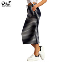 Navy And White Drawstring Striped Twin Pockets Slim Pencil Vintage Skirts 2016 Spring Summer European Style