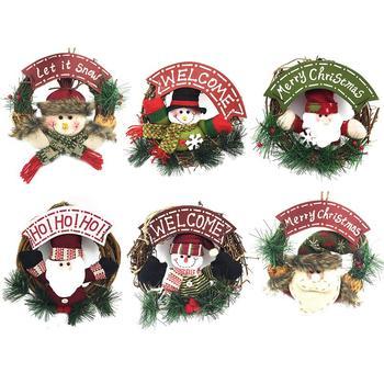 Corona De Navidad Santa Muneco De Nieve Artificial Guirnalda Anillo - Guirnalda-navidad
