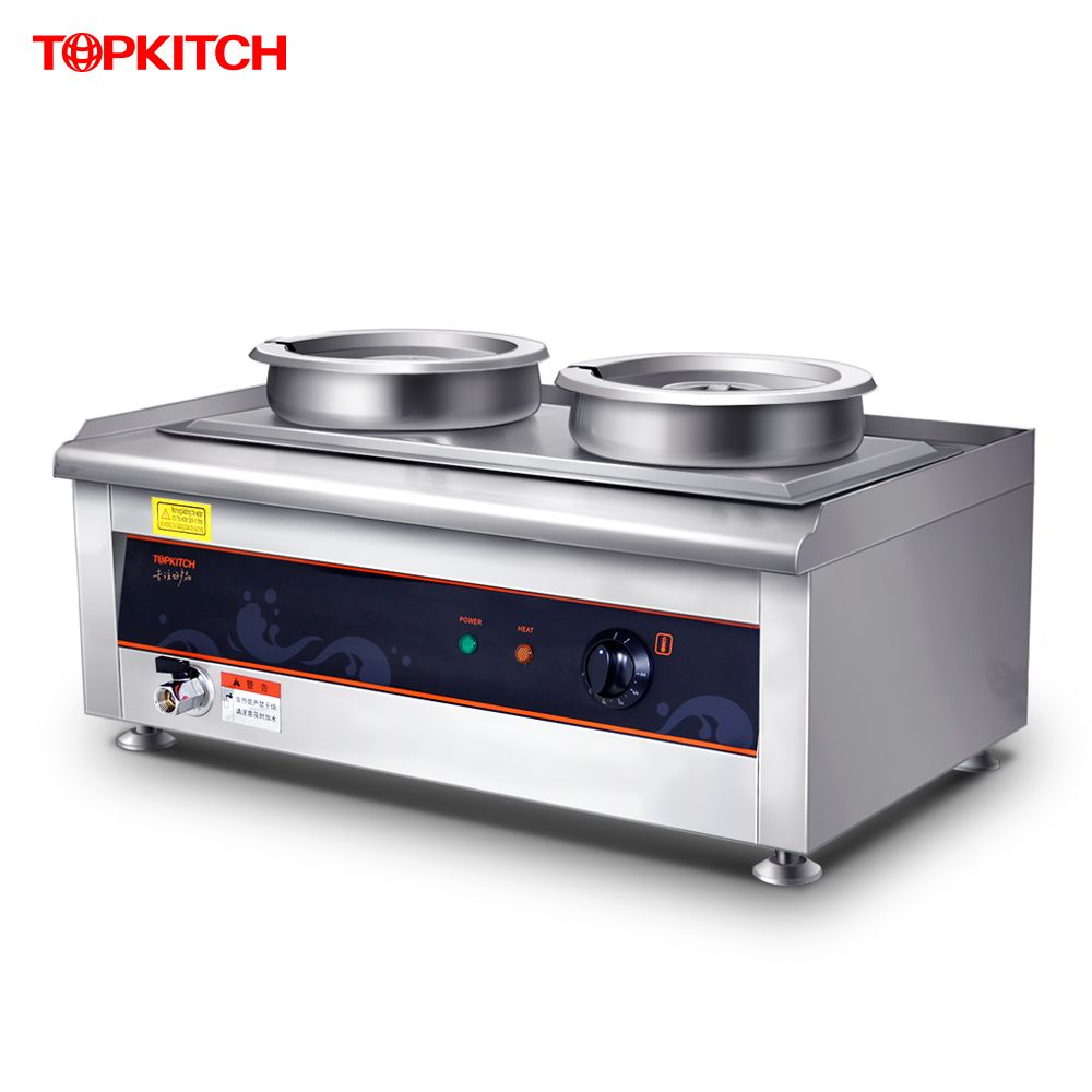 220V Electric Warm Soup Stove 14L Stainless Steel 2 Pots Heat Preservation Furnace For Cafeteria EU/AU/UK/US aoz1331di dfn 14l