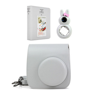 Image 5 - 5 Colors Quality PU Leather Camera Case + Photo Album + Rabbit Selfie Lens for Fujifilm Instax Mini 9/Mini 8 Instant Film Camera
