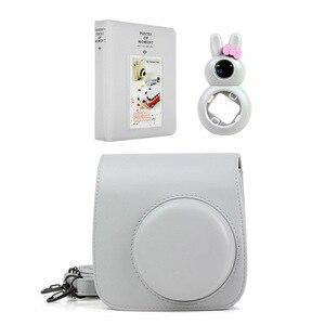 Image 5 - Funda de piel sintética para cámara, 5 colores, álbum de fotos, lente de conejo para Selfie para Fujifilm Instax Mini 9/Mini 8 Cámara de película instantánea