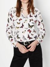 EQ 100 silk colorful butterfly print ladies long sleeve blouse women silk shirt spring autumn