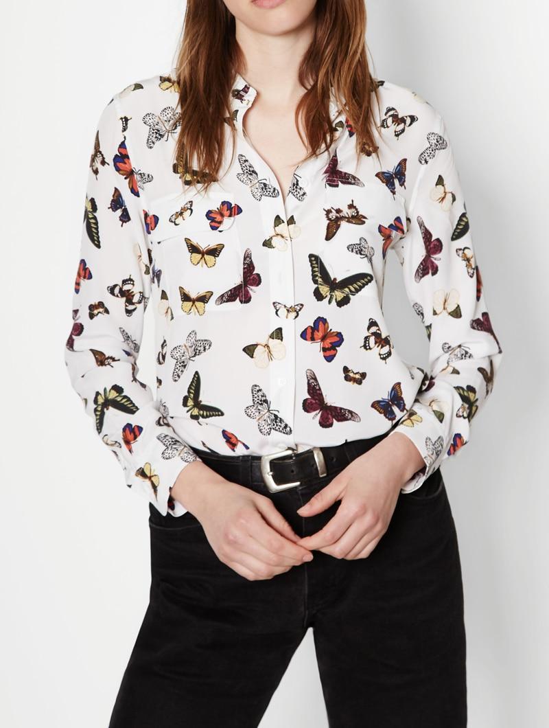 EQ 100 silk colorful butterfly print ladies long sleeve font b blouse b font font b