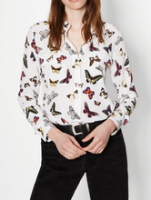 EQ 100% silk colorful butterfly print ladies  long sleeve  blouse women silk shirt spring autumn