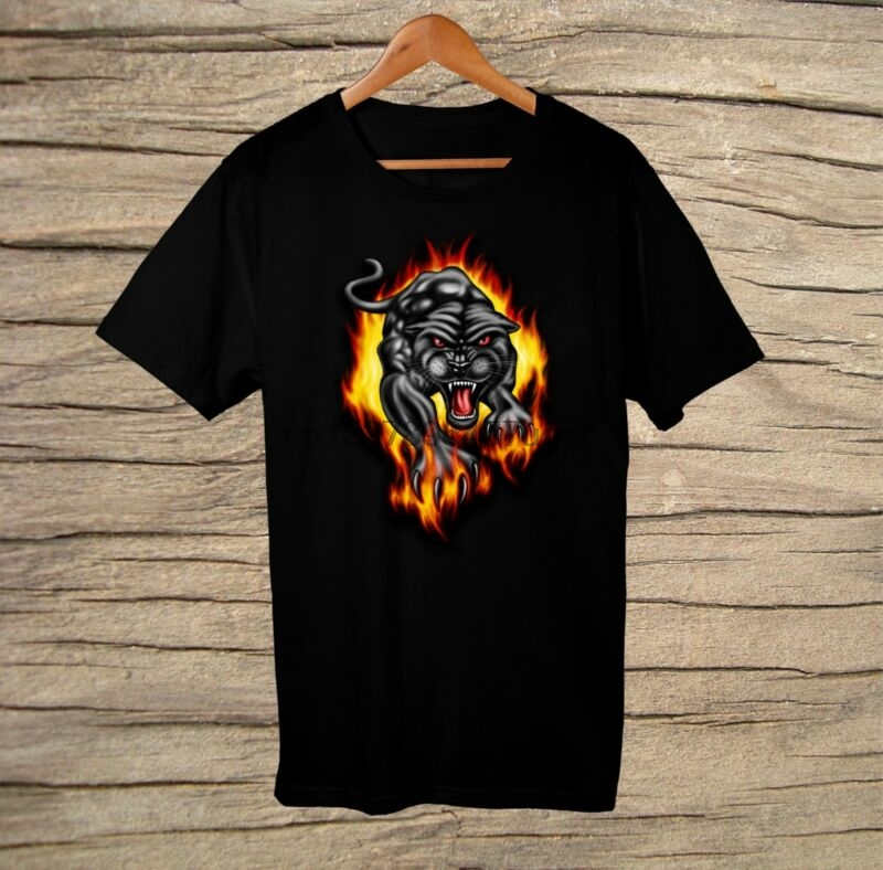 Adroit Sportage Unisex Printed T-shirt Cool Black Panther With Flames New Design Colours Are Striking Tops & Tees