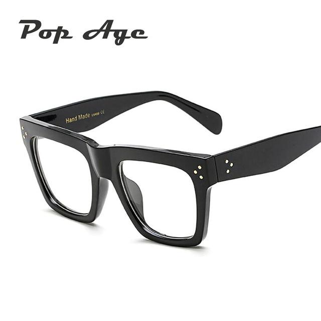 Pop Age Fashion Rivet Shades Plain glasses Men Women Brand Designer ...